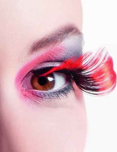 Lange Wimpern rot-schwarz