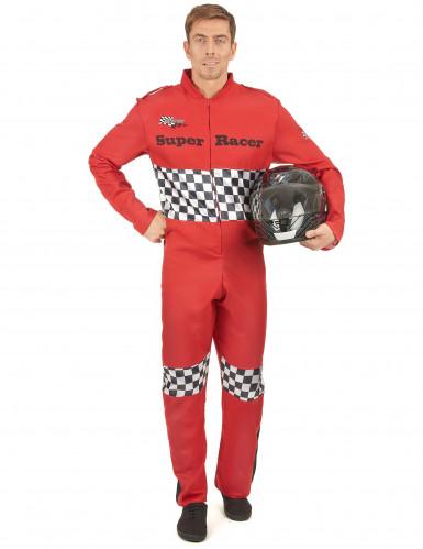 Rennfahrer-Kostüm Rennfahrer-Anzug rot-weiss-schwarz