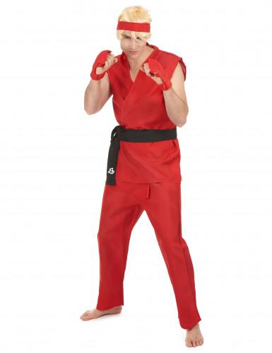 Kung Fu Herren-Kostüm rot-schwarz