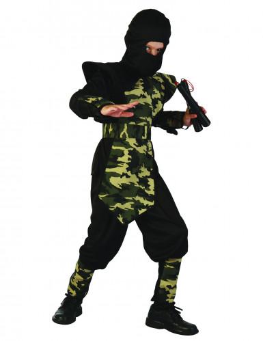 Militär Ninjakostüm für Kinder schwarz-grün