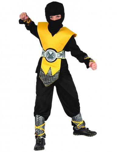 Ninjakrieger Kinderkostüm schwarz-gelb-silber