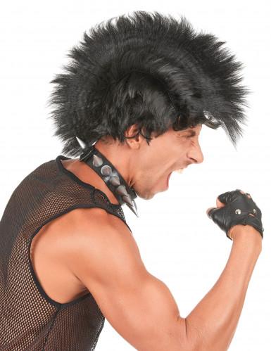 Irokesen Punkrock Herren-Perücke schwarz
