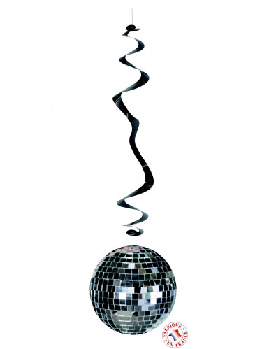 Discokugel-Hängespiralen 70er-Deckendeko 6 Stück silber-schwarz 80cm
