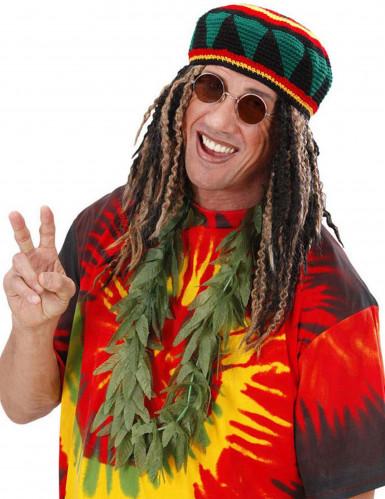 Halskette Cannabis Kostümaccessoire Rasta grün