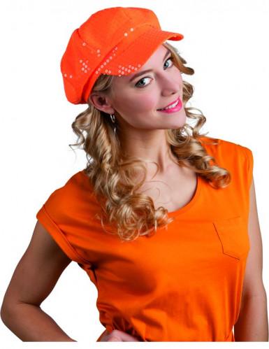 Erwachsenencap mit Pailletten orange