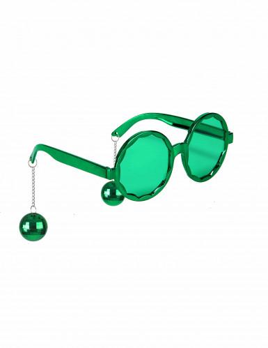 Disco-Brille mit Discokugel Party-Brille grün