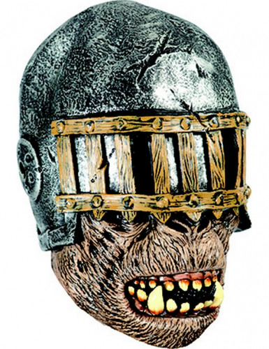 Bösartiger Ork Fantasykrieger Halloween-Maske metall-braun-beige
