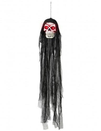 Skelett-Schädel mit Leuchtaugen Halloween-Deko grau-schwarz 90cm