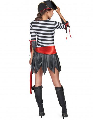 Sexy Piratin Damenkostüm Seeräuberin schwarz-weiss-rot-2