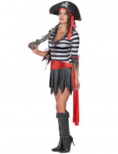Sexy Piratin Damenkostüm Seeräuberin schwarz-weiss-rot-1
