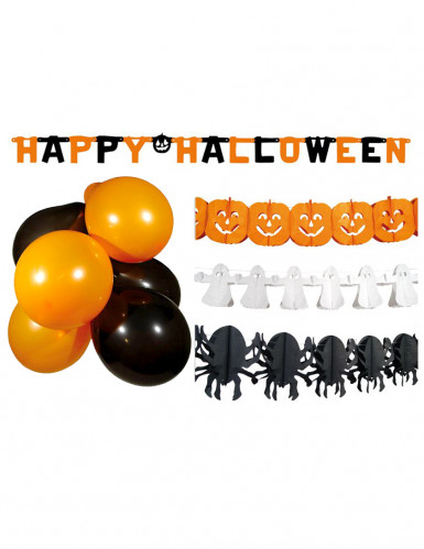 s sses halloween party deko set 14 teilig orange weiss schwarz g nstige faschings partydeko. Black Bedroom Furniture Sets. Home Design Ideas
