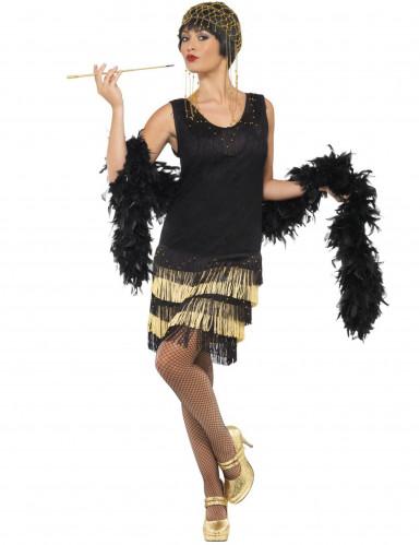 20er Charleston Can Can Jazz Damenkostüm Fransen schwarz-gold