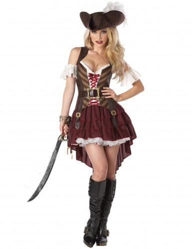 Sexy Piratin Damenkostüm Steampunk braun-rot-weiss