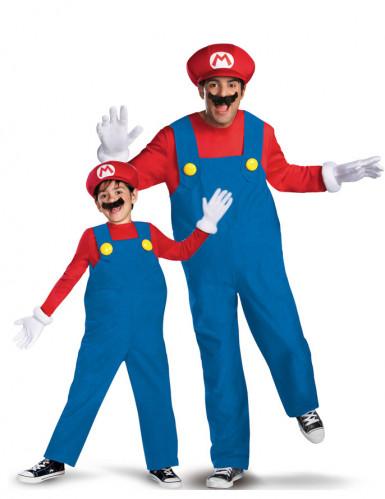 Super Mario™-Paarkostüm für Vater und Kind blau-rot