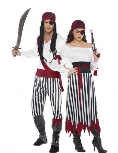 Wilde Piraten Kostüm-Set für Paare schwarz-weiss-rot