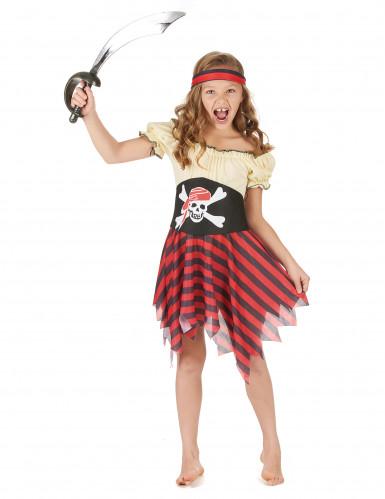Wilde Piratin Seeräuber-Mädchenkostüm beige-schwarz-rot