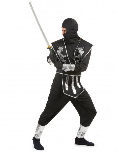 Ninjakämpfer Herren-Kostüm schwarz-silber