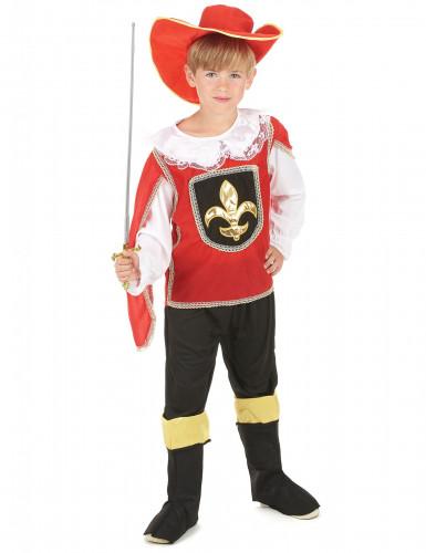 Musketier-Kinderkostüm weiss-rot-schwarz