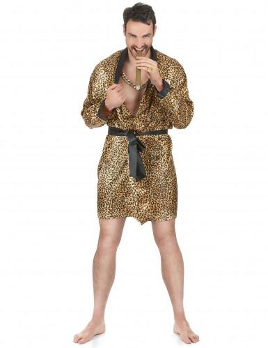 Leoparden-Herrenmorgenmantel Animal-Print gold-schwarz