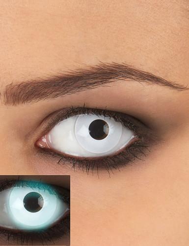 UV Kontaktlinsen Halloween-Make-up weiss