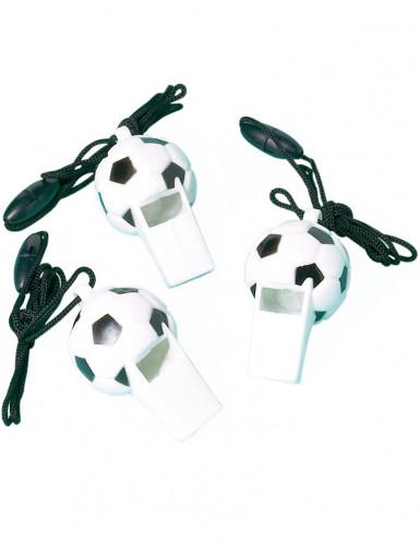 Fussball-Trillerpfeifen zum Umhängen 12 Stück Schwarz-weiss