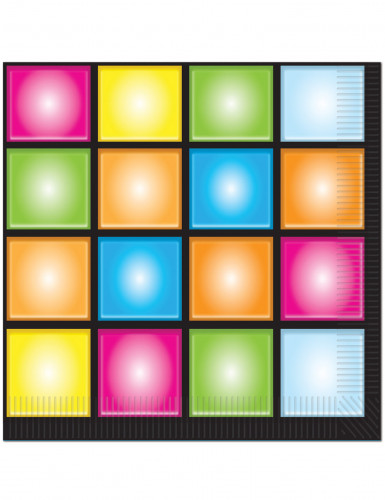 Disco Servietten Party-Deko 16 Stück bunt 33x33cm