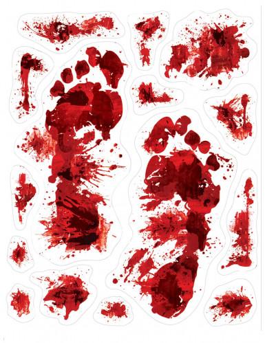 blutige fu spuren blutige halloween deko 15 st ck rot. Black Bedroom Furniture Sets. Home Design Ideas