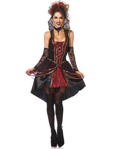 Edle Vampir-Königin Vampirin Damenkostüm schwarz-rot
