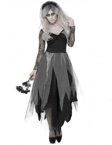 Finstere Geisterbraut Halloween-Kostüm für Damen schwarz-grau
