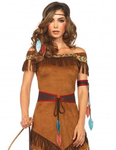 Indianerin Western Damenkostüm braun-1