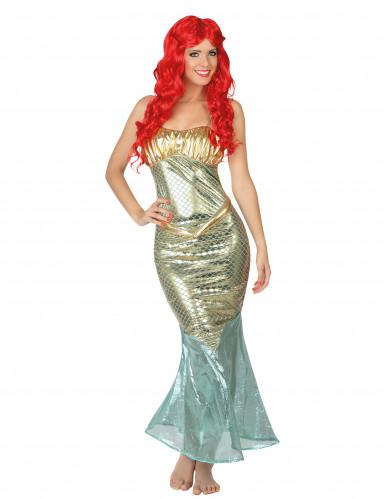 Meerjungfrau Damenkostüm Sirene hellblau-silber