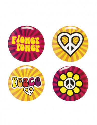 4 pins hippie flower power bunt g nstige faschings accessoires zubeh r bei karneval megastore. Black Bedroom Furniture Sets. Home Design Ideas