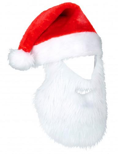 Weihnachtsmann Mütze mit Bart rot-weiss