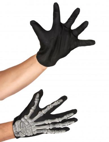 Skelett Handschuhe schwarz-weiss