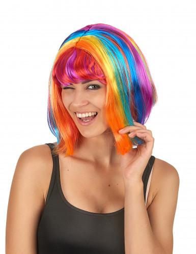 Regenbogen Neon-Perücke Bob-Schnitt bunt