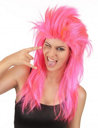 Rockstar Mähne 80er-Perücke pink
