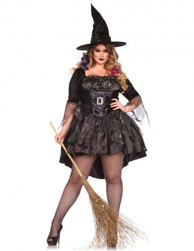 Heisse Hexe Zauberin Halloween Damenkostüm Plus Size schwarz-silber