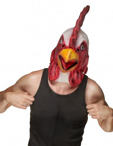 Hahn Latex-Maske Huhn rot-weiss-gelb