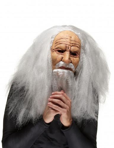 Mächtiger Zauberer Maske mit Perücke und Bart haut-grau