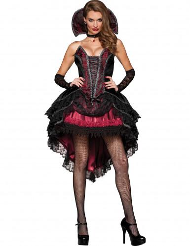 Vampirgräfin Edles Halloween Damenkostüm schwarz-rot