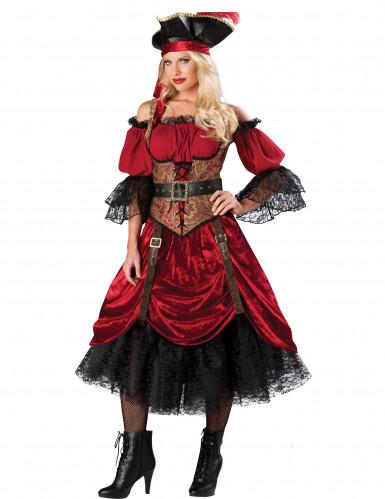 Adelige Piratin Seeräuberin-Damenkostüm rot-schwarz-braun