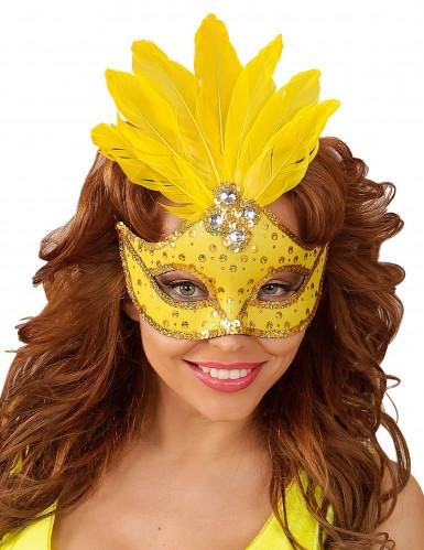 Venezianische Augenmaske mit Federn Kostümaccessoire gelb