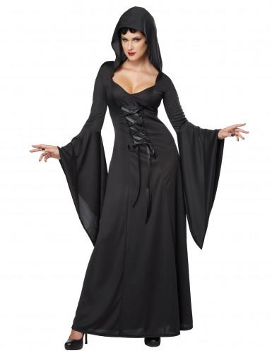 Hexen-Damenkostüm Zauberin Halloween-Kostüm schwarz