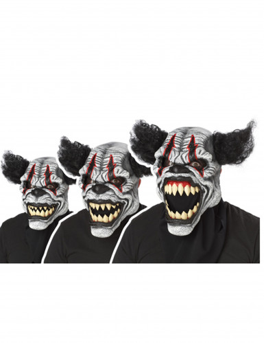 Psycho Killer Clown Ani-Motion Halloween Maske schwarz-weiss-rot-1