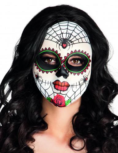 Sugar Skull Spinnen-Maske Day of the Dead weiss-bunt