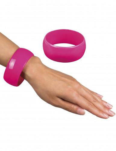 Armreif breit Kostümaccessoire Disco pink 3 x 6,7 cm