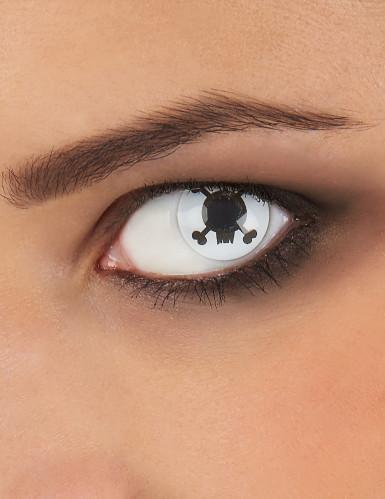 kontaktlinsen totenkopf schwarz weiss g nstige faschings make up bei karneval megastore. Black Bedroom Furniture Sets. Home Design Ideas