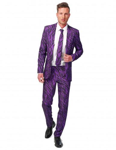 Suitmeister Anzug Tiger-Print Plus Size violett-schwarz
