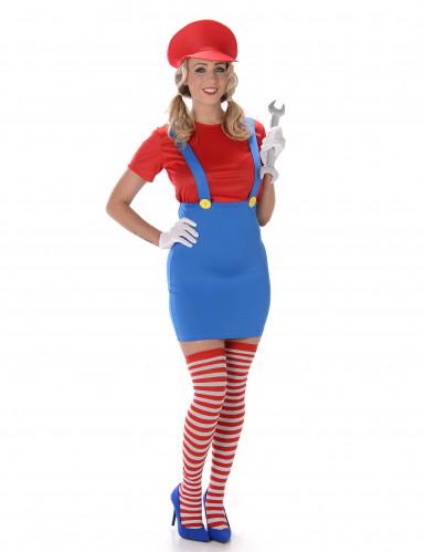 Videospiel Klempnerin Damenkostüm blau-rot