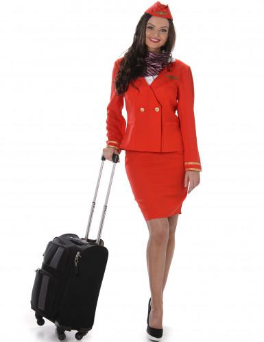 Stewardess Damenkostüm Flugbegleiterin rot